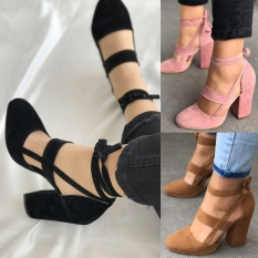 Newest Women Sexy Heels Summer Party Sandals Suede Straps Thick High Heeled Shoes 3 Colors-Brown EU Size #34 - intl