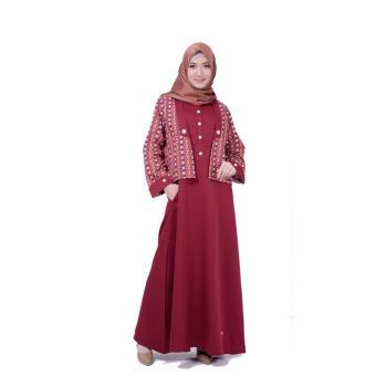 Nibras NB 145 Maroon Gamis Busana Baju Muslim