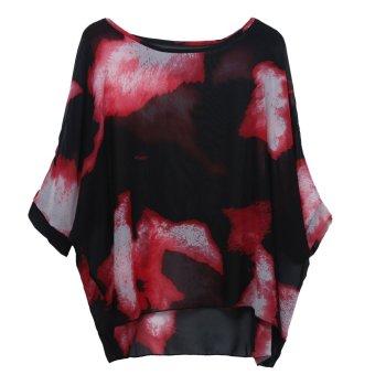 NiceEshop Women Bohemian Floral Printed Chiffon Loose Blouse Shirts