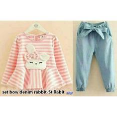 Nicer-Setelan Baju Celana Jogger Anak Cewe-Set Jogger Rabbit Kid