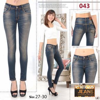 Versi Korea dari musim gugur wanita baru celana panjang pinggang tinggi celana jeans (Putih)