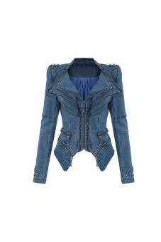 Notched Lapel Denim Jeans Tuxedo Coats Blue (EXPORT)