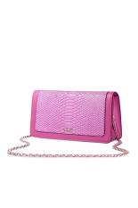 NUCELLE 1170611-10 Snakeskin Embossed Cow Leather Purse Clutch Bag Handbag Pink