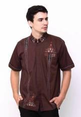 Nuranitex Busana Muslim Baju Koko Modern 2017 Bordir Elegan Coklat - Murah