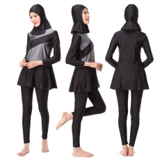 Ocean New Women's Fashion Muslim Swimwear 3 PCS Conservative Swimming suit(Grey) - intl