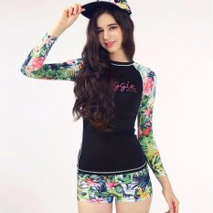 Ocean NEW Women's long-sleeved swimsuit with a conservative flat print wetsuit(Floral) - intl