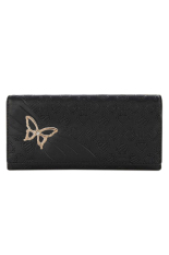 OEM Black Women Casual Long Sweet Clutch Butterfly Korean PU Leather Coin Purse (Intl)