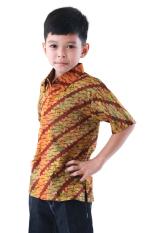 Oktovina-HouseOfBatik Hem Batik Katun Anak - Kids Batik HAK-3 - Hijau Cokelat