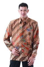 Oktovina-HouseOfBatik Kemeja Batik Tulis Sutra Baron - Batik Tulis Premium KTB-1 - Cokelat Jingga