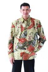 Oktovina-HouseOfBatik Kemeja Batik Tulis Sutra Baron - Batik Tulis Premium KTB-1 - Hijau Merah