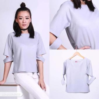 Omah Fesyen Dacriana Plain Cut Out Blouse - Grey