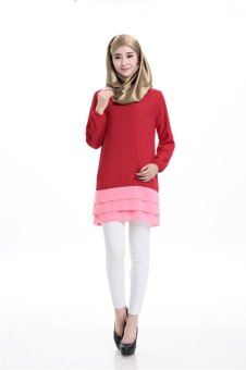 One size Muslim Women Blouse Arab Loose-fitting Tops Outwear Special for Ramadan(Red) - intl