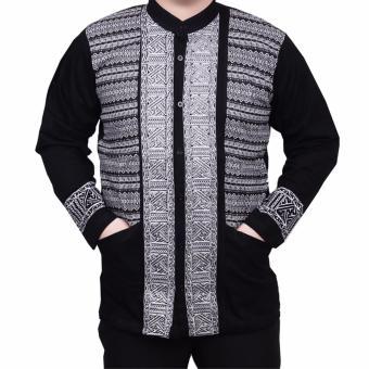 Ormano Baju Koko Muslim Batik Lengan Panjang Lebaran ZO17 KK36 Kemeja Fashion Pria - Hitam