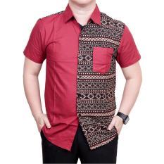 Ormano Baju Koko Muslim Batik Lengan Pendek Lebaran ZO17 49SR Kemeja Fashion Pria Modern All Size - Merah