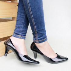 Own Works Sepatu Kerja Pantofel Wanita Heels - Hitam