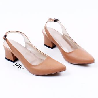 Own Works Sepatu Pantofel Wanita Block Heels Slingback PVS - Camel