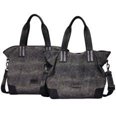 Pabojoe Men's Waterproof Nylon Canvas with Leather Messenger Bag (Black) (Intl)