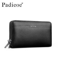 Padieoe Fashion Men Handbag Genuine Leather Business Double Zipper Large Capacity Clutch Bag Black - Intl