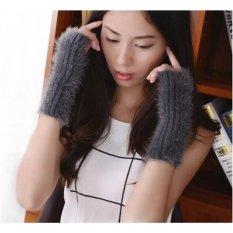 Pair Of Women Winter Long Fingerless Warmer Gloves (Grey)