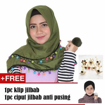 Paket Parisku Segiempat Katun Candy Army Plus Klip Jilbab Dan Inners Ciput