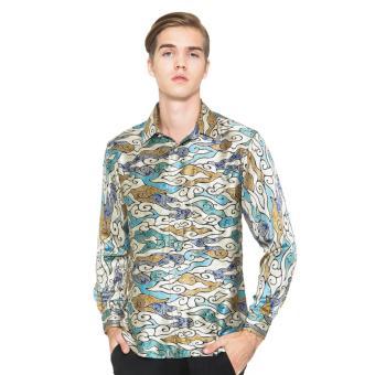 Parama Slim Fit Batik Azure Long Sleeve - Abu Abu