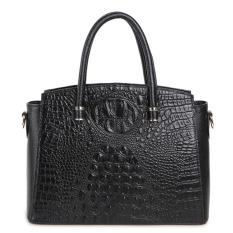 PASTE Genuine Leather Alligator Grain Women Totes High Quality Brand Vintage Shoulder Bag Ladies Crossbody Bags Casual Handbag (Black)