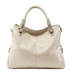 PASTE Women Genuine Leather Tote Famous Brand High Quality Shoulder Crossbody Bag Fashion Vintage Ladies Handbag (White)