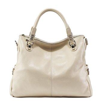 PASTE Women Genuine Leather Tote Famous Brand High Quality Shoulder Crossbody Bag Fashion Vintage Ladies Handbag (White)