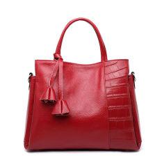 PASTE Women Leather Handbag Genuine Leather Totes Designer Bags Famous Brand Shoulder Bag Ladies Crossbody Fashion Bucket Handbags High Quality (Chili Red)