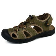 PATHFINDER Pria Flat Leather Sepatu Sandal Sporty Slipper (Hijau) - intl