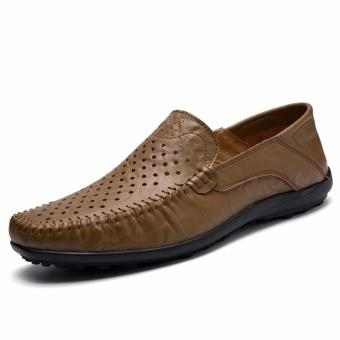 Pattrily men's casual shoes, moccasin-gommino, driving shoes, soft and (khaki) - intl