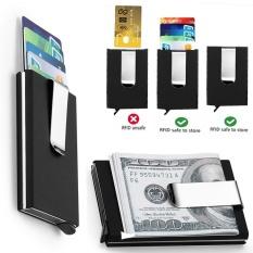 Pemblokiran RFID Pemegang Kartu Kredit Otomatis Pemegang Kartu Bisnis Magic Pop Up Wallet Aluminium Money Clip Kasus Protector Kartu Kredit - intl