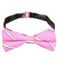PenSee 100% Silk Mens Pre-tied Bow Tie Fashion Stripe Pink & Blue & White Bow Ties