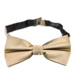 PenSee 100% Silk Mens Pre-tied Bow Tie Solid Gold Bow Ties (Intl)