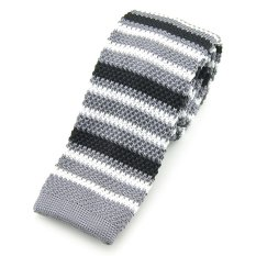 "PenSee Casual Mens Grey & Black & White Stripe Slim 2.16"" Skinny Knit Tie"
