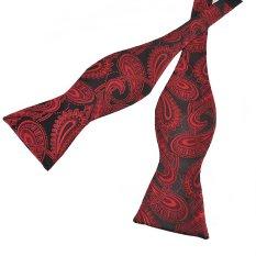 PenSee Mens Self Bow Tie Black & Red Paisleys Jacquard Woven Silk Bow Ties