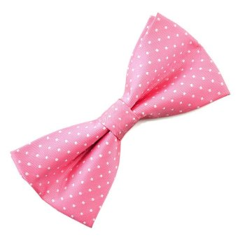 Pensee Mens Silk Bow Tie Pink White Polka Dots Pre-tied Bow Ties