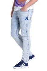 Penshoppe Acid Washed Skinny Jeans - Biru Muda
