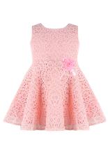 Penurunan peringkat teratas ShippingSummer busur gaun anak perempuan Princess renda gaun tanpa lengan pakaian pesta anak (berwarna merah muda)