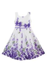 Peringkat teratas perempuan Baju Anak Princess tanpa lengan anak cetak rendah gaun anak gaun musim panas pakaian bayi perempuan (ungu)