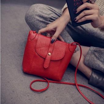 Persegi kecil Korea Fashion Style Messenger tas bahu tas wanita (Merah)