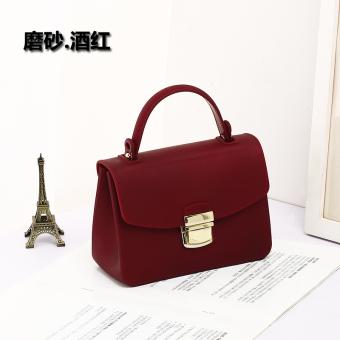 Persegi kecil Shishang ledakan model hot matte jelly tas tas wanita (Matte anggur merah)