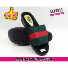 Phayuan Sandal Wanita Fashion L3-Hijau Merah-Selop