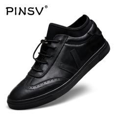 PINSV Genuine Leather Men's Breathable Business Leather Shoes Casual Sneakers (Black) - Intl