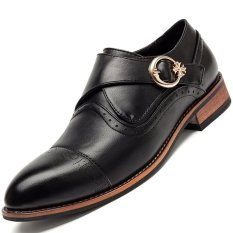 PINSV Leather Formal Bullock Men's Business Shoes (Black) (Intl)