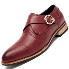 PINSV Leather Formal Bullock Men's Business Shoes (Red)