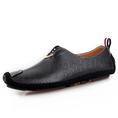 PINSV Leather Men Flats Casual Shoes Loafers Shoes (Black) - Intl