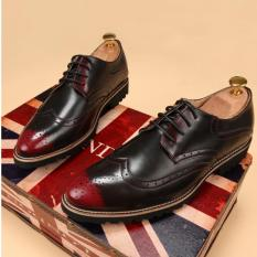 PINSV Leather Men's Bullock British Style Classic Oxford Shoes (Red)