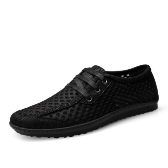 PINSV Men Casual Breathable Business Shoes Lace-Up (Black) - Intl