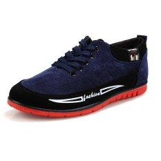 PINSV Men Casual Canvas Sneakers Low Cut(Blue) (Intl)